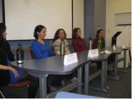 Tai Ullman, Lisa D'Agrosa, Linda DePoto, Meghan Hamrock, and Ellen Cynar participate in the TFW Private Sector Internship Panel this past fall.