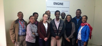 Theresa McMenomy (N15-AFE) at her internship farewell gathering with ENGINE project staff at Save the Children in Ethiopia.