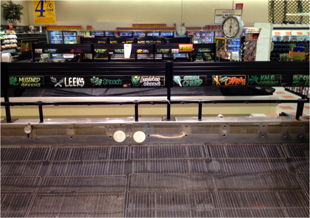 Somerville Market Basket's empty produce shelves on August 20, 2014
