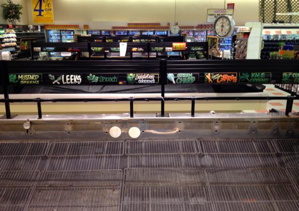 Somerville Market Basket's empty produce shelves on August 20, 2014
