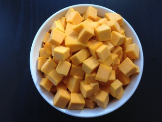 Butternut squash in perfect little cubes