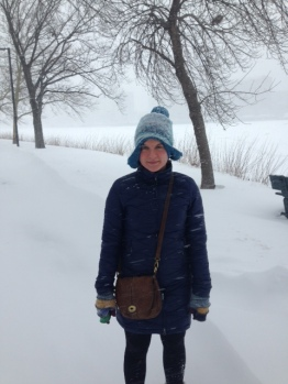 Katherine Pett made her husband accompany her to the Charles River Esplanade to check it out during the storm.
