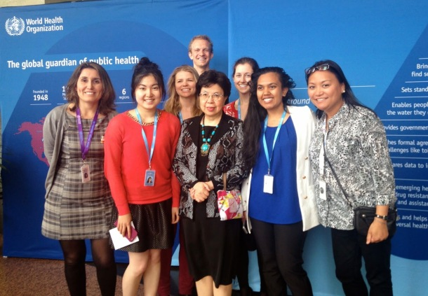 Krista (third from right) with Margaret Chan, Director-General of the WHO, and fellow interns