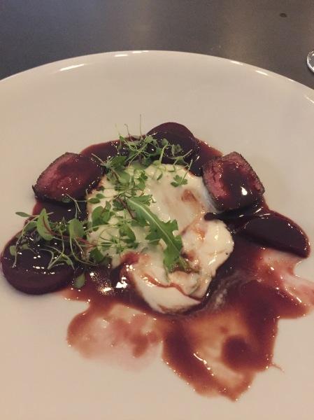 Dry Aged Beef Sirloin Cap: Beet, pomegranate, mascarpone, horseradish