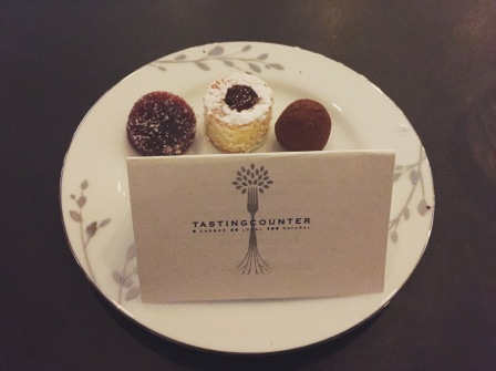 Parting Morsels: Strawberry almond cake; Yuzu chocolate truffle; Plum vanilla chew