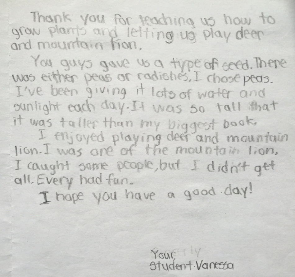 Excerpt from a thank-you card from a third grade student at Josiah Quincy Elementary School.