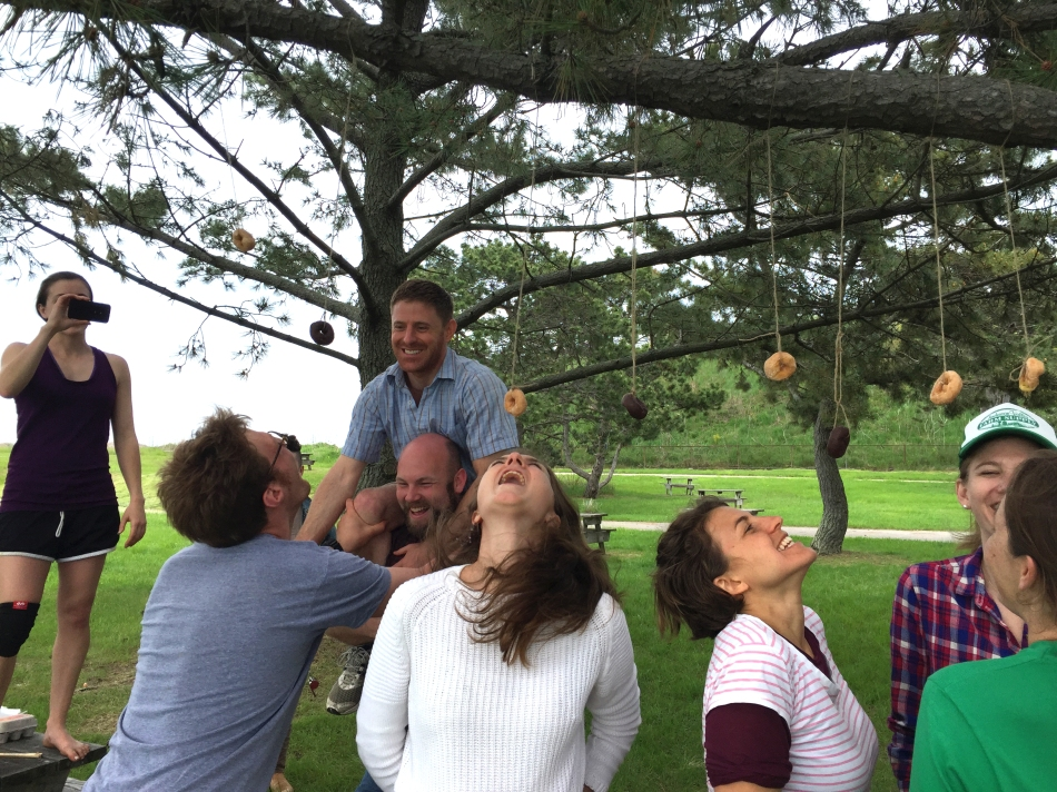 Getting in touch with our silly sides at Friedman Field Day on Georges Island last semester.