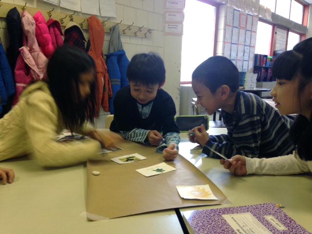 Students draw food webs. Photo by Carolyn Panzarella.
