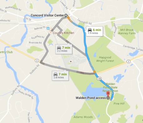 Google Maps route from Walden Pond to Concord Center