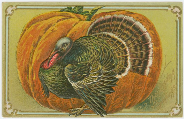 Thanksgiving greeting card, 1907. New York Public Library Digital Collections.
