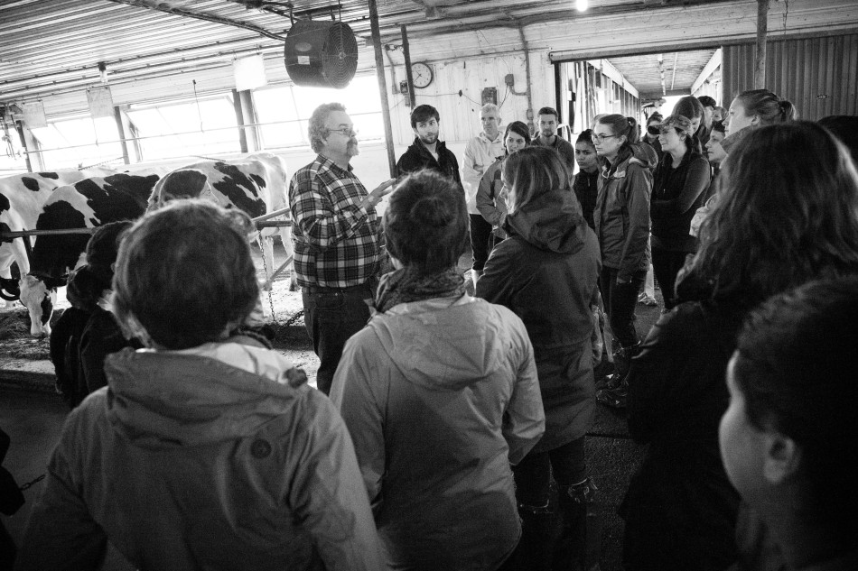 Dr. Pete Erickson leads us on a tour of the facility and answers students' questions about the New England dairy industry.Photo: Kathleen Nay