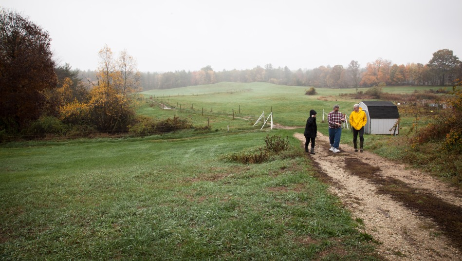 Friedman professor Chris Peters (in yellow) walks the pasture with Dr. Erickson and UNH graduate student Kayla Aragona. UNH manages 55 acres of pasture, in addition to 120 acres of woodlands and 100 acres of crops and forage.Photo: Kathleen Nay