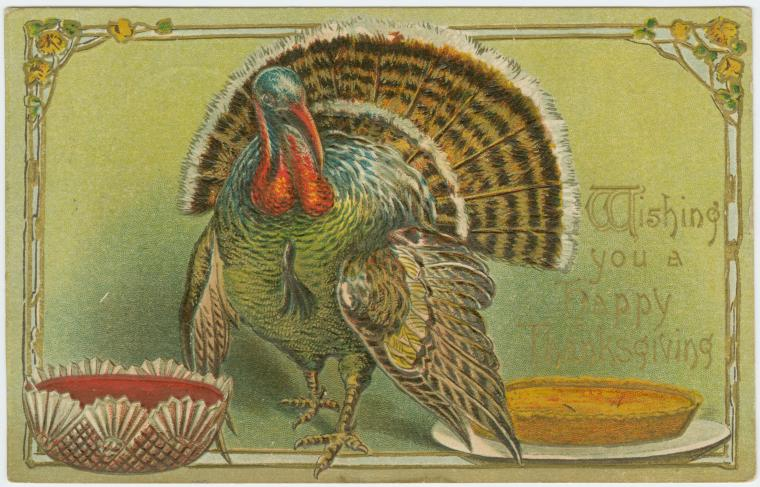 Thanksgiving greeting card, 1908. New York Public Library Digital Collections.