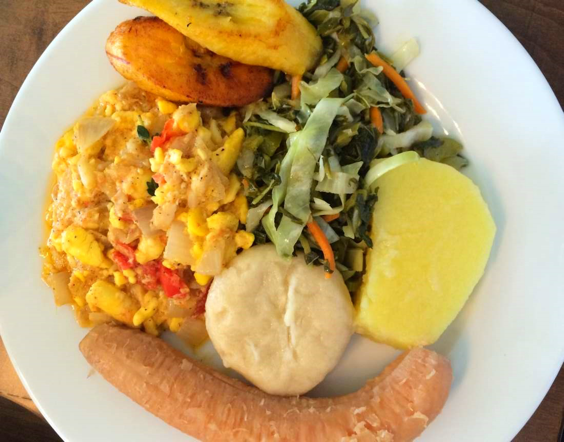 Picture: Ackee & saltfish with green banana, yellow yam, boiled dumplings and greens