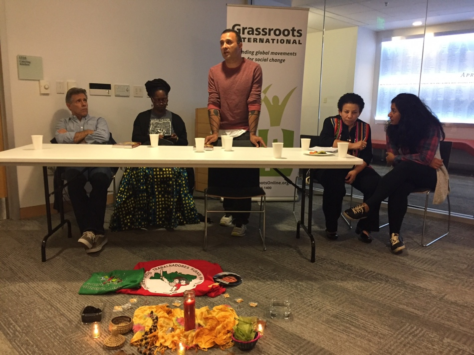 Panel speakers from left: Eric Holt-Gimenez, Kirtrina Baxter, Hartman Deetz, Suyapa Gonzalez (and Friedman AFE student, Nayla Bezares, translating). Photo: Kathleen Nay