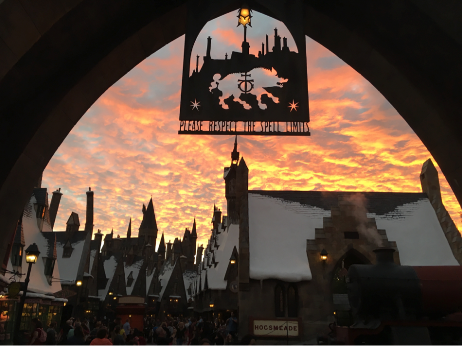 Sunset over Hogsmeade. (Image source: Author)