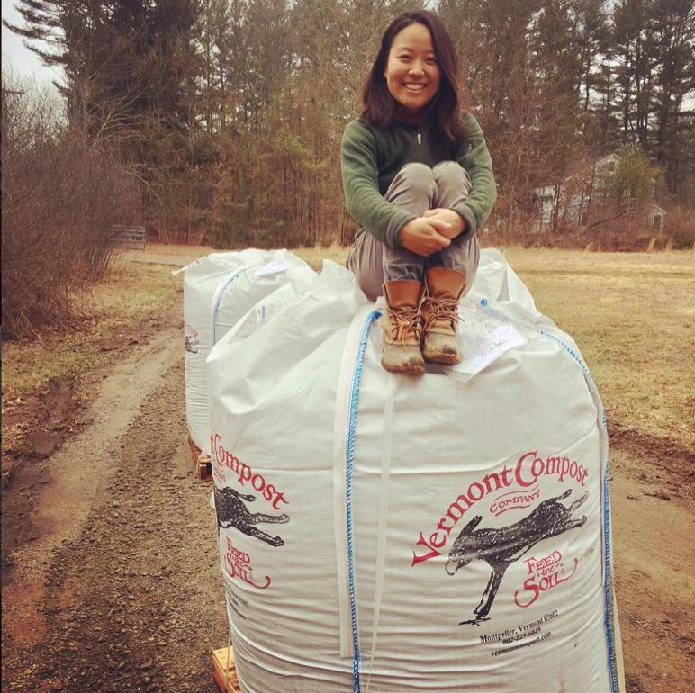 Yoko on a large bag of potting soil. (Photo: Instagram @assawagafarm)