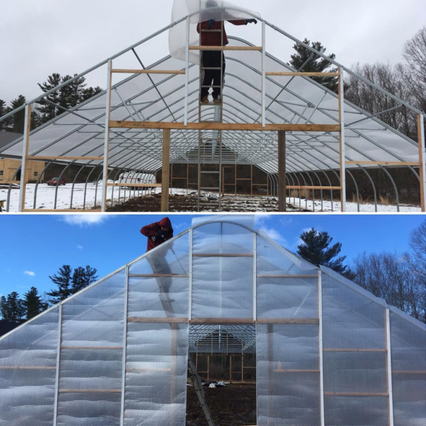 SolaWrap being installed on Assawaga Farm's new greenhouse. (Photo: Instagram @assawagafarm)