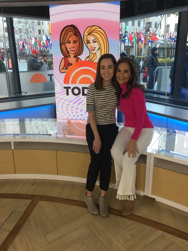 Molly and Joy in front of the crowd at Rockefeller Plaza after the filming of Joy's segment. (Photo provided by author.)