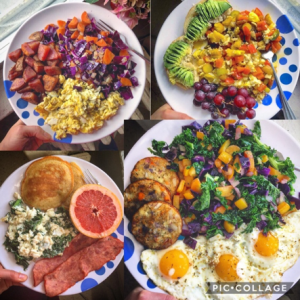 collection of balanced meals post-run marathon training