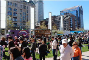Boston Food trucks downtown at an event