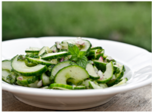 Fresh mint cucumber salad